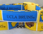 Dog Collar UCLA Bruins Yellow Blue Sports NCAA Division Football California Adjustable Dogs Collars D Ring Handmade Choose Size Accessory