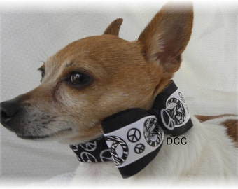 Dog Collar Peace Black & White w Pease Ribbon Bow Tie CHOOSE Size Adjustable Collars D Ring 1960 Hippy Accessories Pet Pets Signs