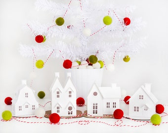 Putz Village Ornament Kit - Makes 4 Paper House Christmas Decorations - Christmas Village Mantle Decor - DIY Christmas Craft Kit for Adults