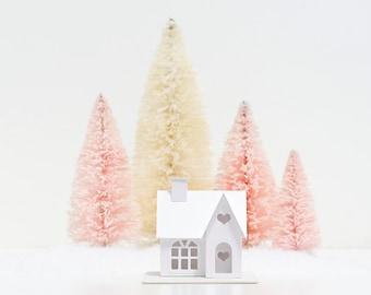 Valentine Putz House DIY Kit, Victorian Glitter House Ornament, Valentines Day Decor, Paper House Craft Kit, Paper Anniversary Gift
