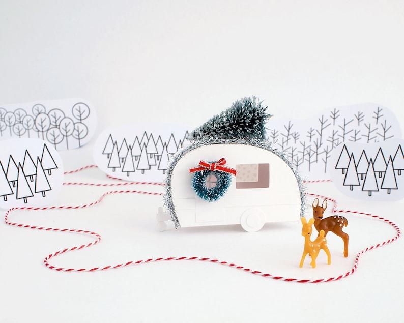 Vintage Camper Christmas Ornament DIY Kit  Putz Camper image 0