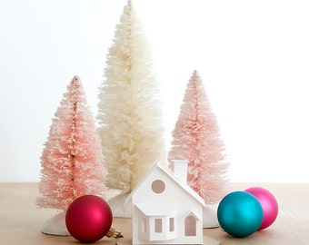 Putz House Ornament DIY Kit Bay Window Glitter House Christmas Decoration  Paper Craft Kit Christmas Mantle