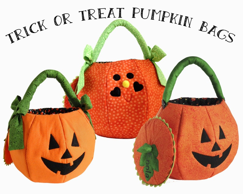 Personalized Pumpkin Trick or Treat Bag - Halloween candy bag