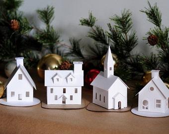 "Putz House Christmas Craft Kit - Build + Decorate Your Own Christmas Village - Putz House Kit of 4 Pre-Cut DIY 3.5""-4.75 tall buildings"