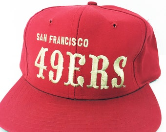 ... promo code vintage san francisco 49ers snapback hat red and gold  official nfl football cap 1990s 7c90bebfc