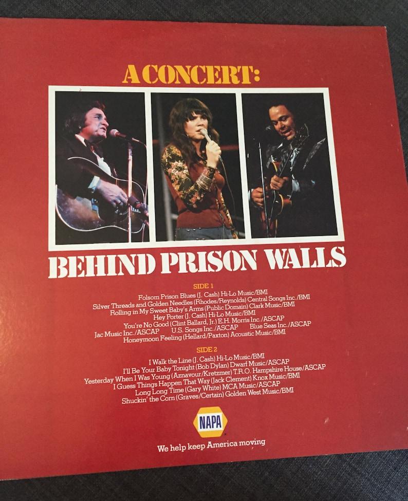 Johnny Cash Linda Ronstadt Roy Clark A Concert Behind Prison Walls 1978 NM  Vinyl LP Record Album