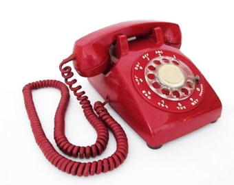 Vintage Mid Century Bell System Red Rotary Desk Phone Western Electric