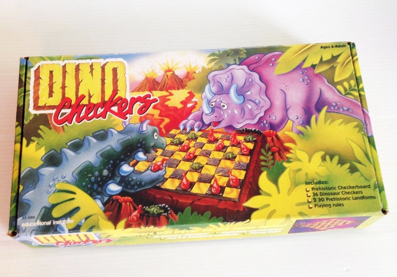 Vintage Dino Checkers Board Game 3d Dinosaur Children's 1980s Complete