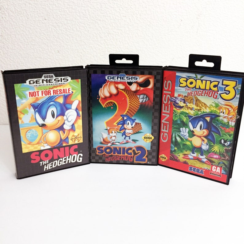 Vintage Sega Genesis Sonic the Hedgehog 1 2 3 Tested Excellent Very Clean  Video Game Bundle Complete