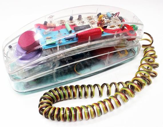 Vintage  Retro 80/'s  90/'s Unisonic PhoneWorks2 Clear Neon Bright Multicolor Rainbow Plastic Telephone *NO WALL CORD*