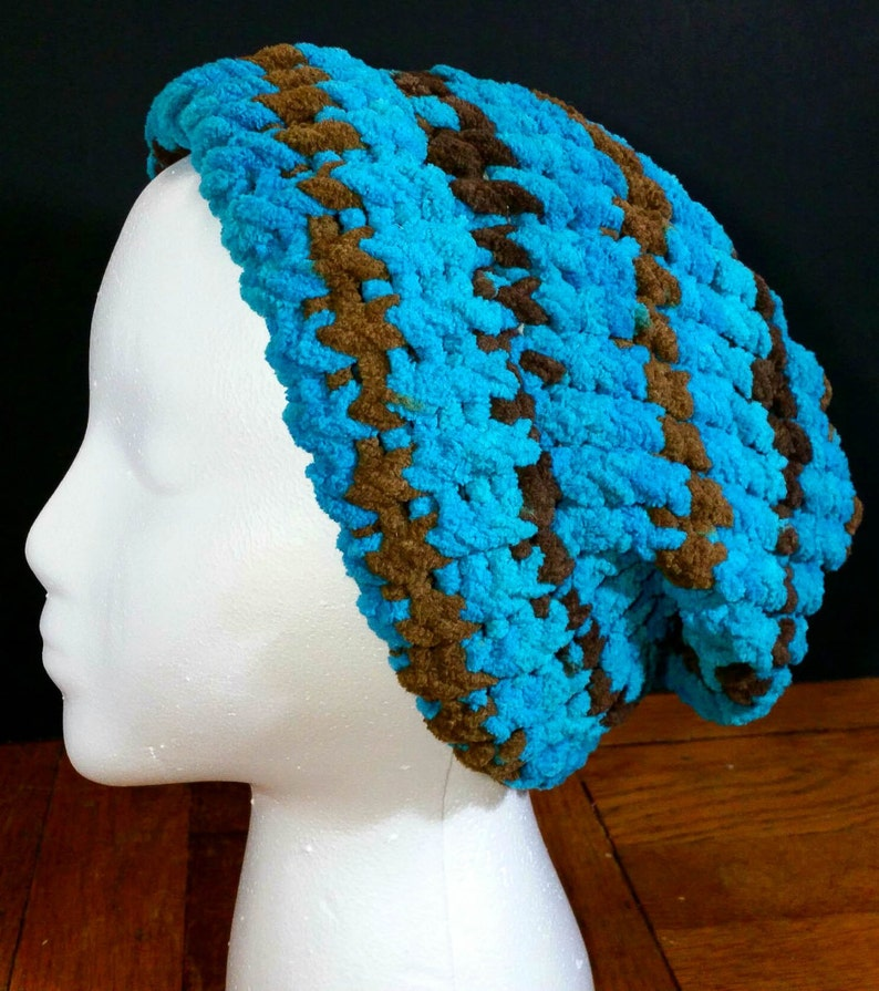 8ac8b7fdb72 Blue and Brown Fuzzy Knitted Slouch Beanie Loom Knit Beanie