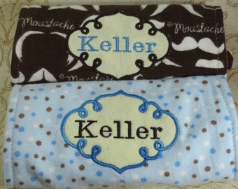 2 Personalized Burp Cloths Gift Set for Baby Shower