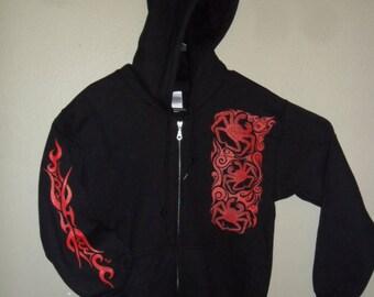 King Crab/ Red ink /Full Zip Hoody