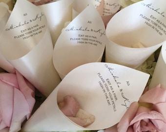 Wedding Petal Favor Cones with Verse (Quatrz)