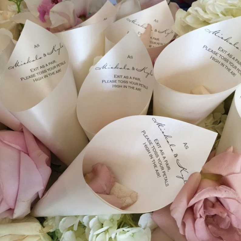 Wedding Petal Favor Cones with Verse Quatrz No Dried Petals
