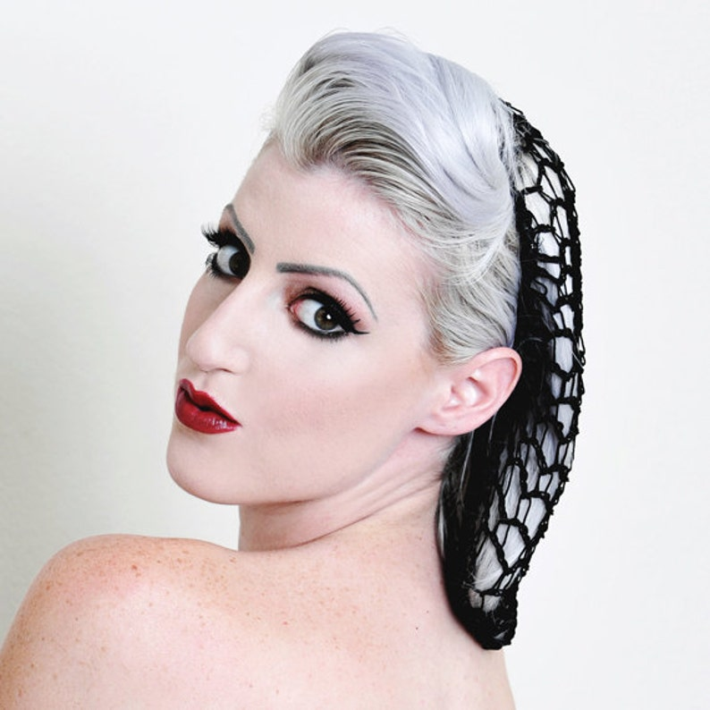 1940s Hairstyles- History of Women's Hairstyles Black Rockabilly Snood Hair Net $9.25 AT vintagedancer.com