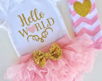 Hello World Pink and Gold Sparkly Outfit