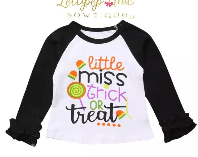 Featured listing image: Halloween Trick or Treat Candy pumpkin patch girls tee shirt