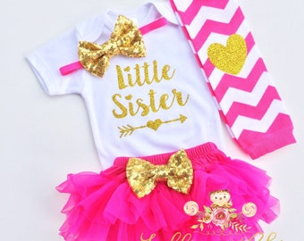 Little Sister hot pink outfit baby bodysuit gold sparkle bodysuit