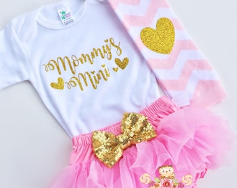 Mommy's Mini outfit baby bodysuit gold sparkle bodysuit