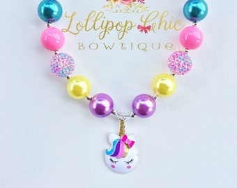 Sleeping Unicorn Bubblegum Necklace