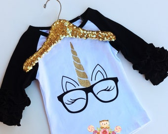 Unicorn nerd eyelashes eyeglasses ruffle sleeve shirt
