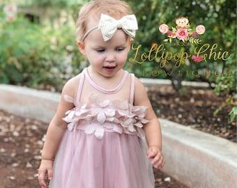 Dusty Pink floral chiffon tutu dress kids formal mauve dress baby dress