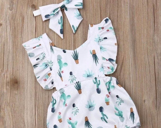 Featured listing image: Restocked! Cactus succulent ruffle romper baby romper summer baby clothes cactus dress cactus baby arizona baby