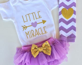 Little Miracle lavender and Gold Sparkly Outfit