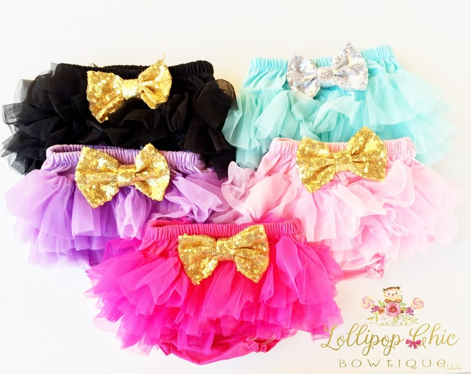 Featured listing image: Chiffon tutu baby infant bloomers ruffle bottom diaper cover photo prop baby