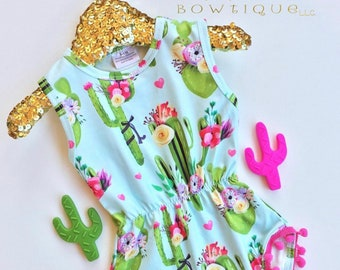 Cactus romper baby romper summer baby clothes cactus dress cactus baby arizona baby