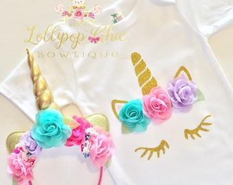 Unicorn Birthday shirt and headband , unicorn party, unicorn birthday, unicorn onesie, unicorn babyshower, unicorn tee shirt,