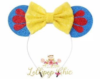 Snow White inspired minnie mouse ear headband