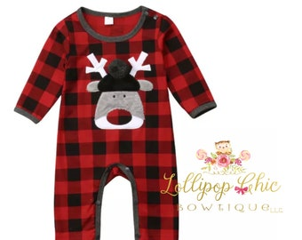 Baby Boy Buffalo Check Reindeer romper baby's first Christmas red check romper