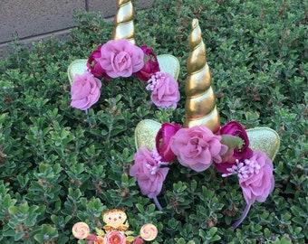 Mauve Maroon wine burgundy and gold Unicorn Headband Wedding unicorn flower girl