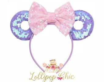Minnie donut ear headband pink and purple