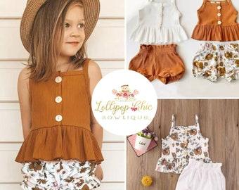 Vintage print Girls peplum tee shirt floral short set
