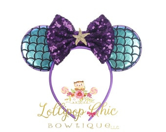Restocked!Mermaid Ariel purple teal iridescent inspired minnie mouse ear headband