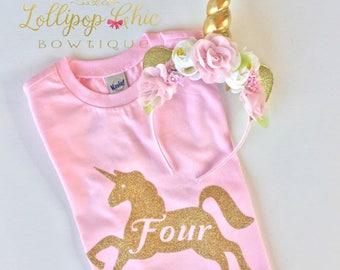 Unicorn Birthday Party Shirt Tee Light Pink with Matching Unicorn Headband