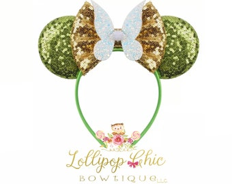 New! Tinker Bell inspired minnie mouse ear headband