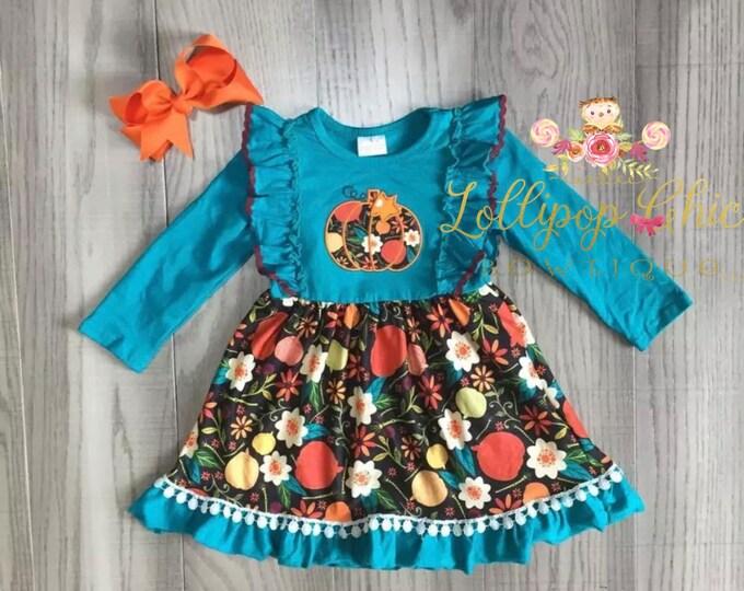 Featured listing image: Fall dress pumpkin dress teal dress Ruffle Embroidered Thanksgiving toddler Girls Dress