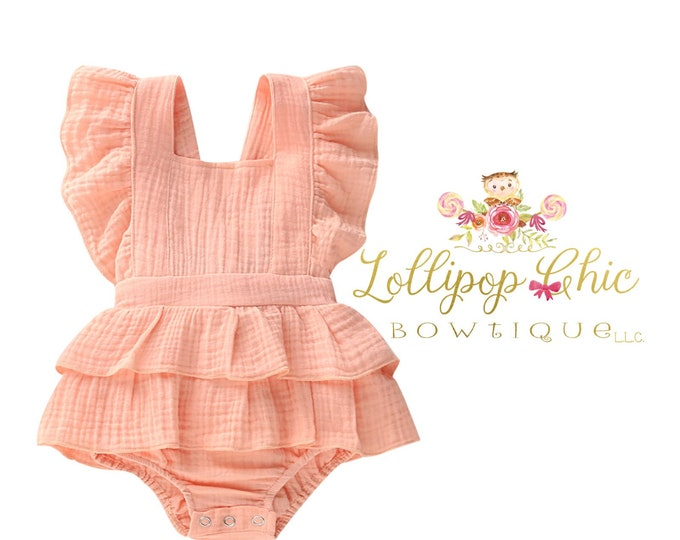 Featured listing image: Restocked! Shabby Chic Vintage Romper peach pink vintage pink Ruffle bottom Romper