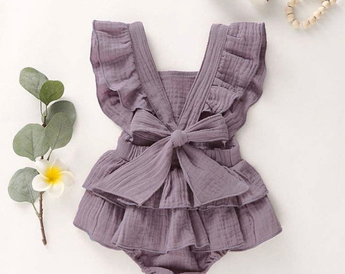 Featured listing image: Shabby Chic Vintage Romper Dusty Purple Ruffle bottom Romper