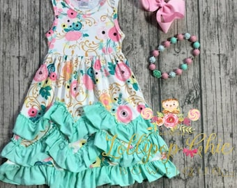 Soft girls summer Dress milk silk long kids dress ruffle dress