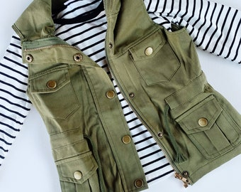 Girls fashion military green utility vest shirt set
