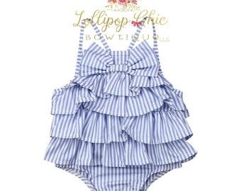 Blue and white stripe bow spring summer baby Romper bodysuit
