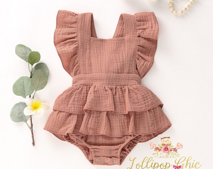 Featured listing image: Restocked! Shabby Chic Vintage Romper Dusty Pink Ruffle bottom Romper