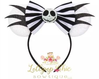 New! Nightmare Before Christmas Jack skellington minnie mouse ear headband