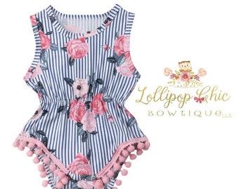 Stripe Floral spring summer baby Romper bodysuit