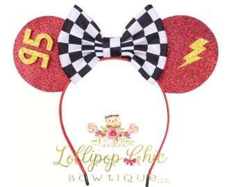 Cars lightning mcqueen inspired minnie mouse ear headband